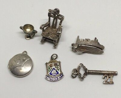 Collection Vintage Sterling Silver Chim Opening Charms Bracelet Chair Locket