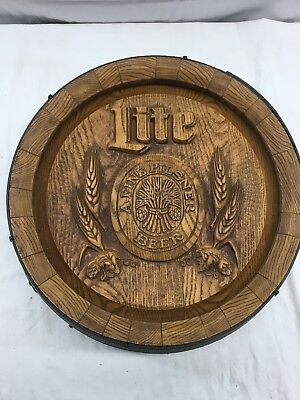 "Vintge 18"" Across Miller Brewing Co Lite Pilsner Beer Barrel Wall Bar Decor Sign"
