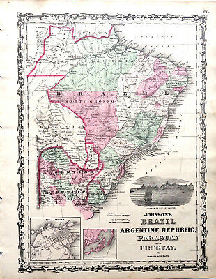 1862 MAP BRAZIL ARGENTINE REPUBLIC PARAGUAY URUGUAY Old Johnson Hand Colored Map