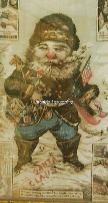 Very Rare-1868 Edward Peck,oriental Print Works-Patriotic Santa And 4 Scenes