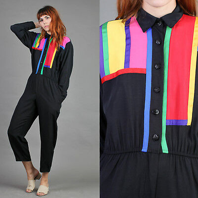vtg RAINBOW+COLOR BLOCK fitted one piece jumpsuit abstract collar pants 80s L