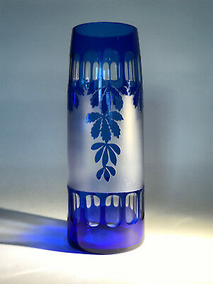 Large Kralik Cobalt Cut acid etched vase Art Deco Czech Glas Vase