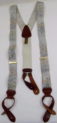Vintage Trafalgar England Fly Fishing Trout Embroidered Silk/leather Suspenders