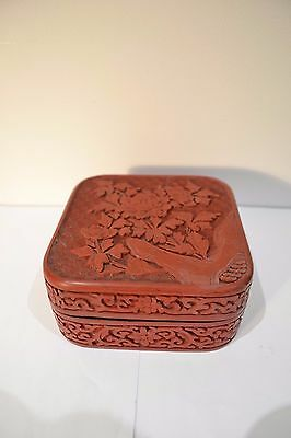 Vintage Chinese Carved Cinnabar Red Lacquer Seal Paste Box & Cover