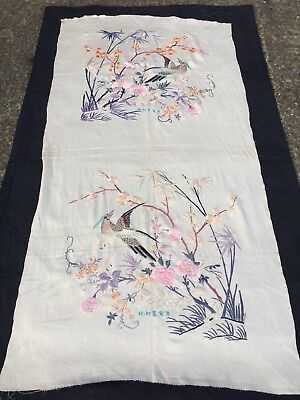 Vintage Chinese Silk Embroidery Panel Depicting Birds.