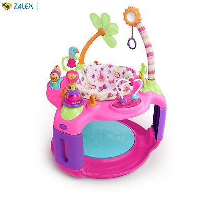 Bright Starts Sweet Safari Bounce-a-Round Activity Baby Bouncer Jumper Pink Girl