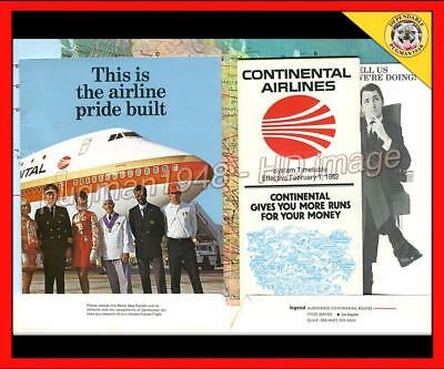 CONTINENTAL AIRLINES 1982 AIRLINE TIMETABLE SCHEDULE...4 piece flight packet