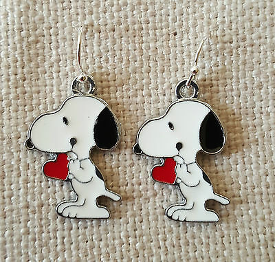 Unusual Snoopy Beagle Dog Charm Earrings Free Organza Gift Bag