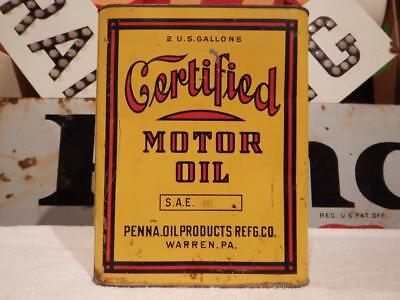 **rare Early** Certified 2 Gallon Motor Oil Can