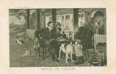 Old Sepia Postcard PC Pointer Hunting Dog Repos de Chasse HP Feddersen c1900