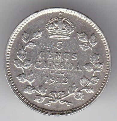 Canada.Canadian Silver Coin 5 Cents 1912
