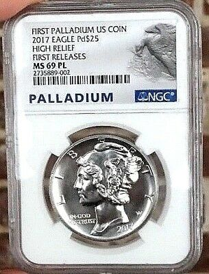 2017 $25 1 oz Palladium Eagle Coin NGC MS 69 PL PROOFLIKE FIRST RELEASES