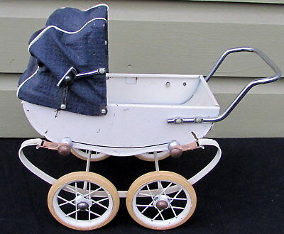 VINTAGE 1950s DOUCET METAL BABY DOLL CARRIAGE PRAM BUGGY MADE BY RED  IN FRANCE