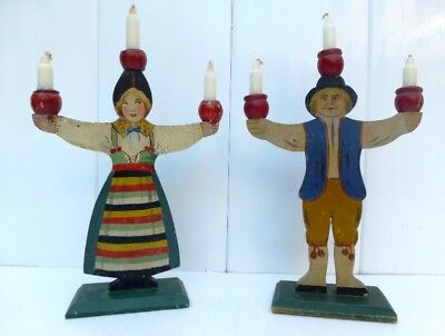 Swedish OLD CANDLEHOLDERS - BOY AND GIRL - RATTVIK DALARNA FOLK COSTUMES Sweden