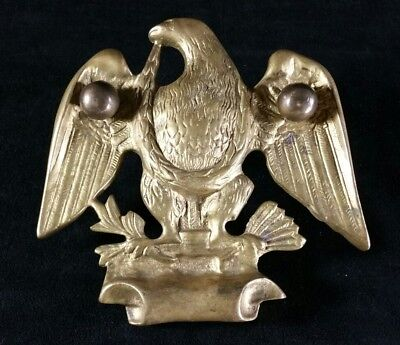 "Vintage Brass Eagle Front Door Decor Mounting Hardware But No Knocker 5.25""x5.5"""