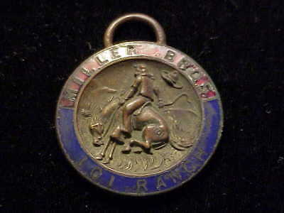 101 Ranch, OK Miller Bros. man on bucking bronco early colorful enameled fob