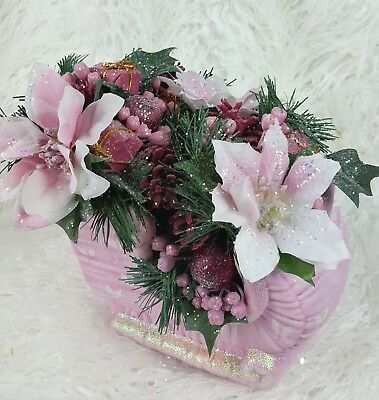 Large Shabby Chic Victorian Pink Sleigh Floral Christmas Centerpiece Poinsettia