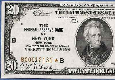 "1929 $20 Frbn ""new York"" With    ♚Star♚  ♚Star♚      Very Bright&crisp"