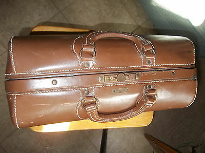 Antique Vintage Schell Emdee Doctor's Bag Brown Leather - SOLID-built to last !!