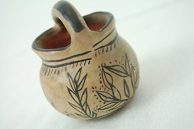 Antique Native American Miniature Fired Clay Pot with Handle