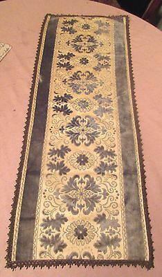 antique ornate embroidered centerpiece table mat runner velour needlepoint 37'