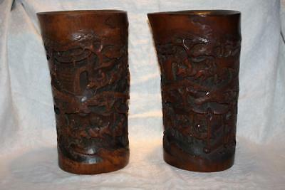Pair of Large Chinese Deeply Carved Bamboo Brush Pots Modelled as Tusks 28cm