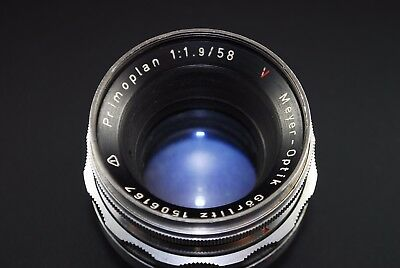 Vintage Meyer-Optik Gorlitz Primoplan Camera Lens 1:1.9 / 58 Red V M42