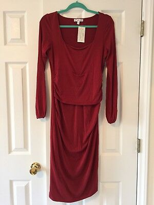 NWT Annee Matthew Discrete Nursing Maternity Fall Dress Red Long Sleeve Sz 6