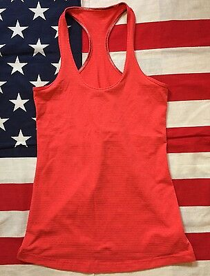 Lululemon Athletica Red Tank Top Workout Fitness Yoga Stripes Women's Size 6
