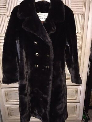 Vintage Lucien Danville Paris Faux Fur Coat Leather Inserts