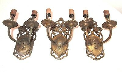 lot of 3 quality antique ornate gold gilt cast iron electric wall sconce fixture