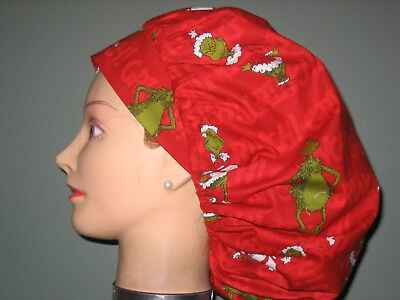 Surgical Scrub Hats/Caps Christmas  The Grinch   RED