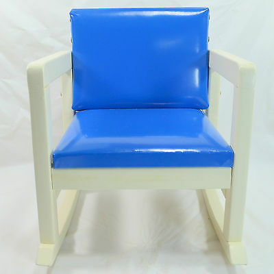 Vintage N.D. CASS Company Toys Child's Rocking Chair Painted White w/ Blue Seat
