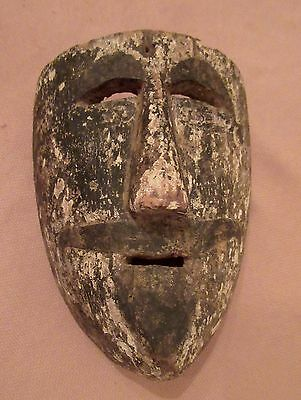 rare antique hand carved wood indigenous Mexican dance ceremonial mask sculpture