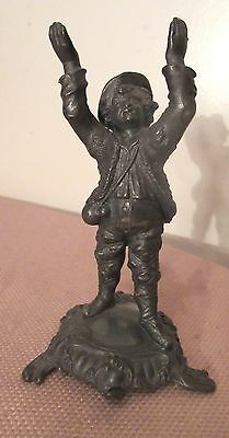 rare antique 1800's miniature very detailed solid pewter figure statue mini boy