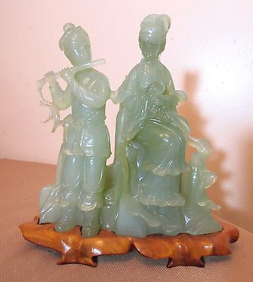 vintage Chinese hand carved green jade stone guanyin figural statue sculpture