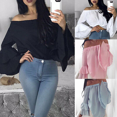 Fashion Women's Off Shoulder Tops Long Sleeve Shirt Casual Blouse Loose T-shirts