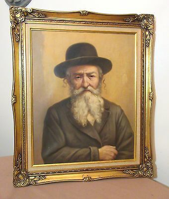 vintage original Joseph Rut Jewish Rabbi Judaica oil painting on canvas portrait