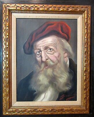 vintage original elder old Italian man Judaica oil painting on canvas portrait