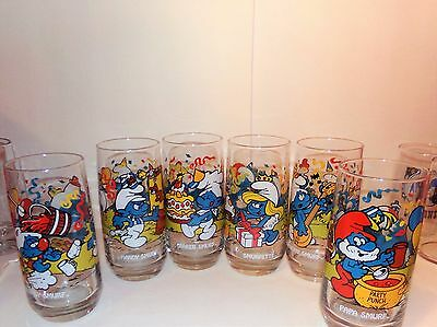Complete Set Of 1983 Hardee's Smurf Glasses! Real Sweet Addition To Your Family!