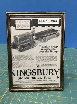 1926 OLD MAGAZINE PRINT AD, KINGSBURY MOTOR DRIVEN TOYS, Tractor Crawler