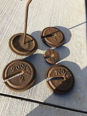 Fairbanks Scale Weights And Hanger 50 100 200 Grain Antique Feed Bag Barn Farm