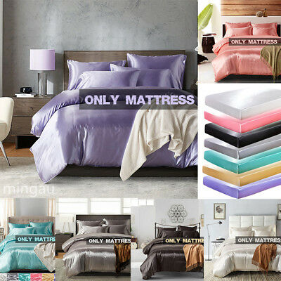 Luxury Ice Silk Mattress Cover Fitted Sheet Satin Sheet Twin Full Queen King Hot