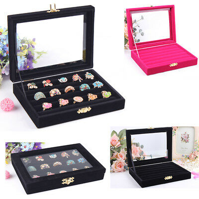 Glasses Ring Velvet Jewellery Display Box Cufflinks-Storage Tray Case Holder