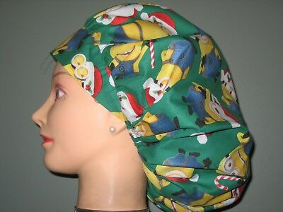 700c4233bf4d3 SURGICAL SCRUB HATS CAPS Christmas Minions In Santa hats Despicable ...