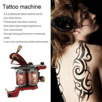 Tattoo Gun Needles Power Supply Cord Body Beauty Tools with Portable Case LN