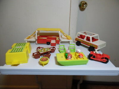 Vintage Fisher Price Little People Car and Pop-Up Camper Boat Lot