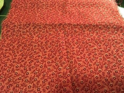 Moprimitivepast Antique Cinnamon Pink  Calico Pennsylvania Quilt Cotton Fabric