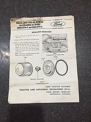 Ford Tractor Install Instructions for Throw-Away Type Oil Filter Kit # CPN-6882A