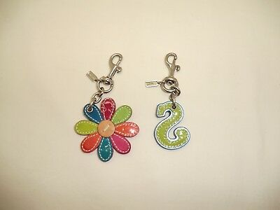 LOT of 2 COACH Daisy Flower + LETTER S Charm Multicolor Pink Red Key Chain Fob